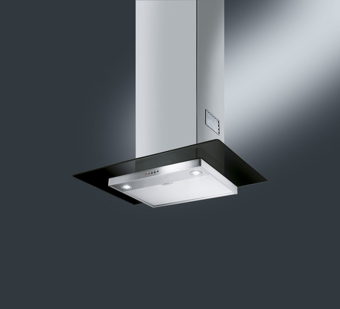 Smeg KFV62DNE 60 Black Glass Chimney Hood