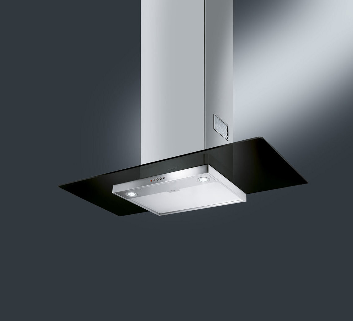 Smeg KFV92DNE 90 Black Glass Chimney Hood