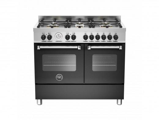 Bertazzoni Master 100 Double Oven Dual Fuel Matt Black Range Cooker MAS100-6-MFE-D-NEE