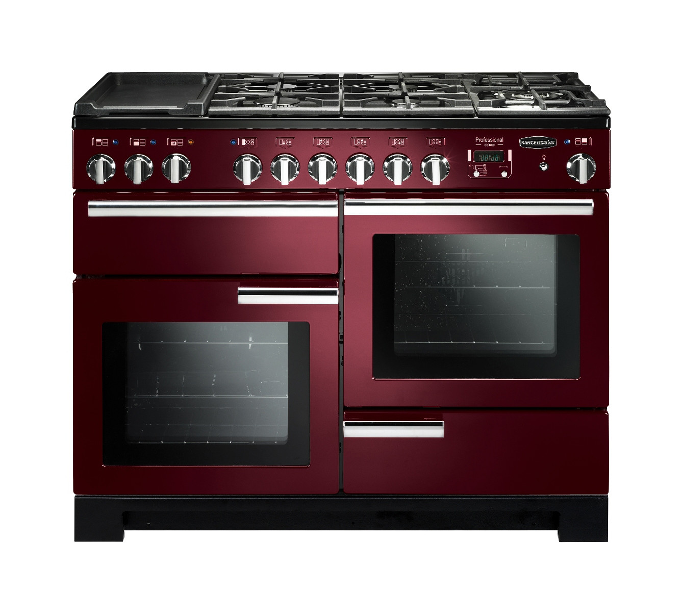 Rangemaster Professional Deluxe 110 Dual Fuel Cranberry Range Cooker PDL110DFFCY/C 97540