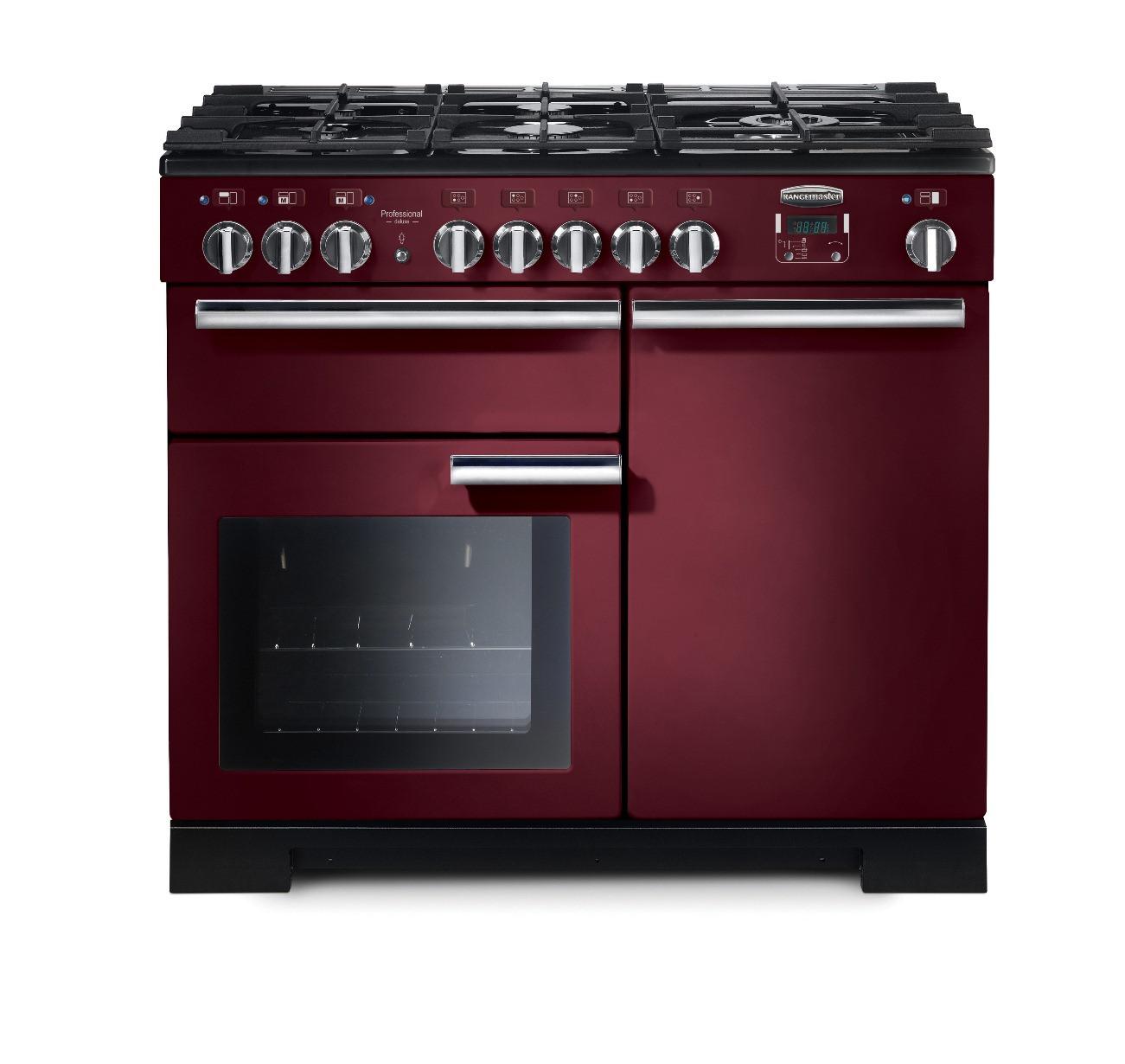 Rangemaster Professional Deluxe 100 Dual Fuel Cranberry Range Cooker 97580