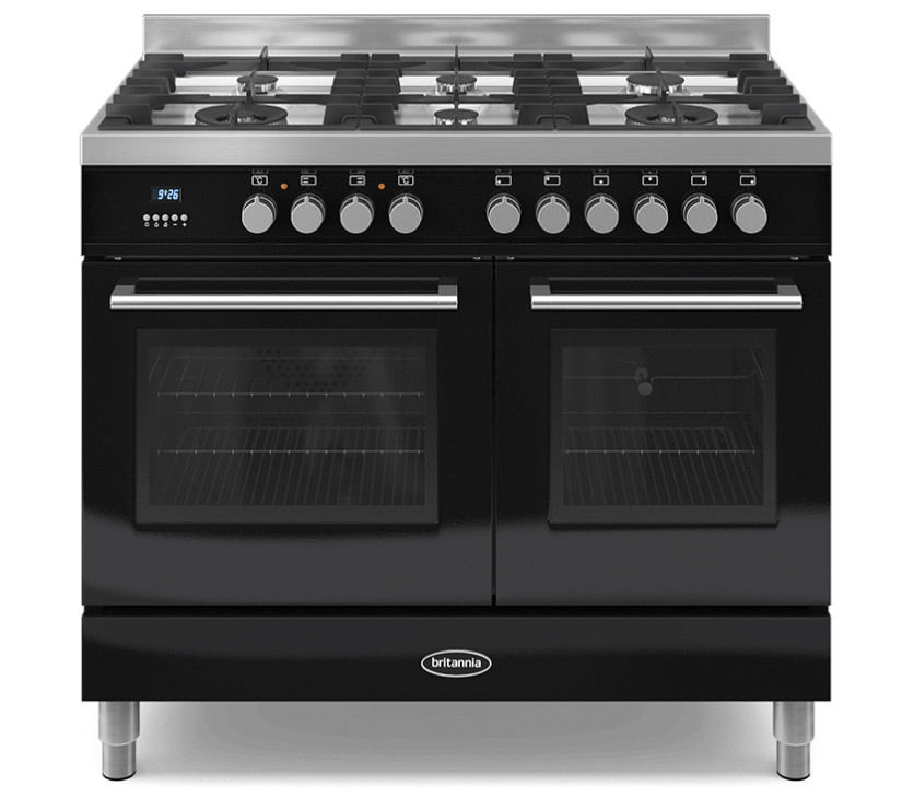 Britannia Q Line 100 Twin - 6 Dual Fuel Burners Black Range Cooker