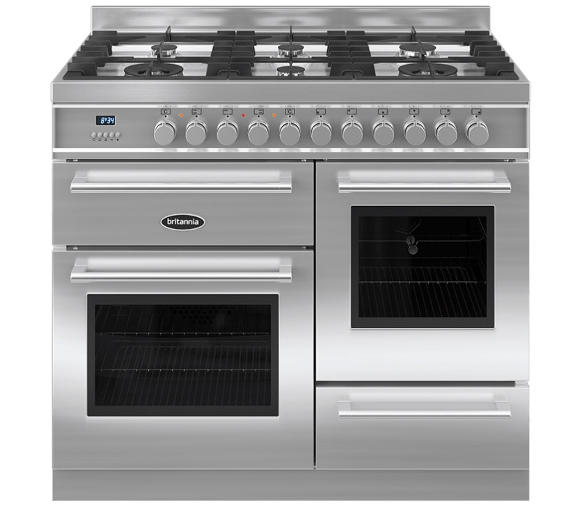 Britannia Q Line 100 XG - 6 Dual Fuel Burners Stainless Steel Range Cooker
