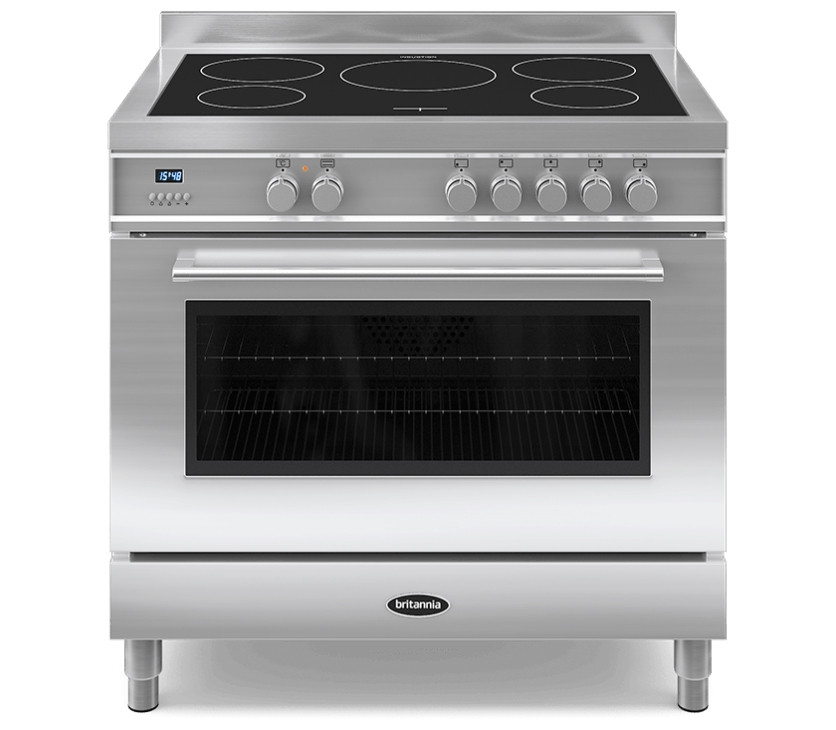 Britannia Q Line 90 Single - 5 Induction Zones Stainless Steel Range Cooker