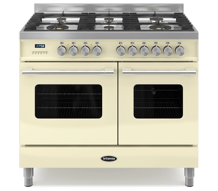 Britannia Delphi 100 Twin - 6 Dual Fuel Burners Cream Range Cooker