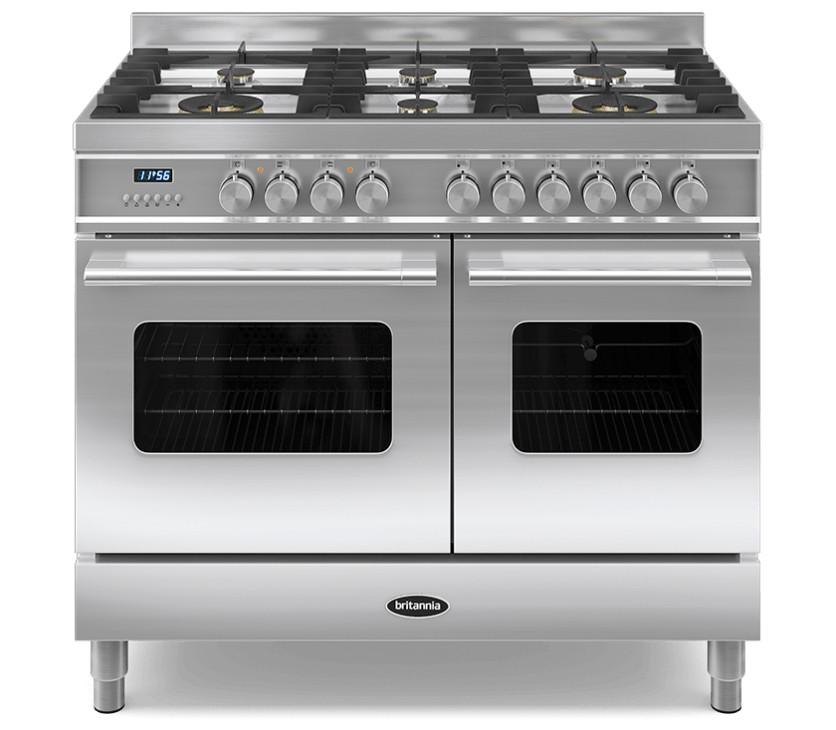 Britannia Delphi 100 Twin - 6 Dual Fuel Burners Stainless Steel Range Cooker