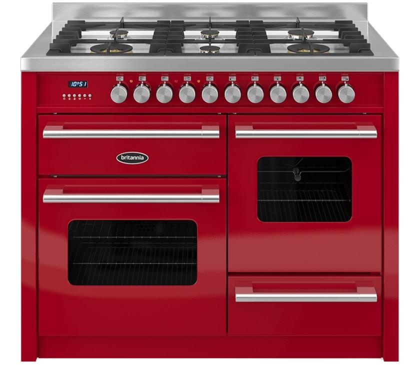 Britannia Delphi 110 XG - 6 Dual Fuel Burners Red Range Cooker