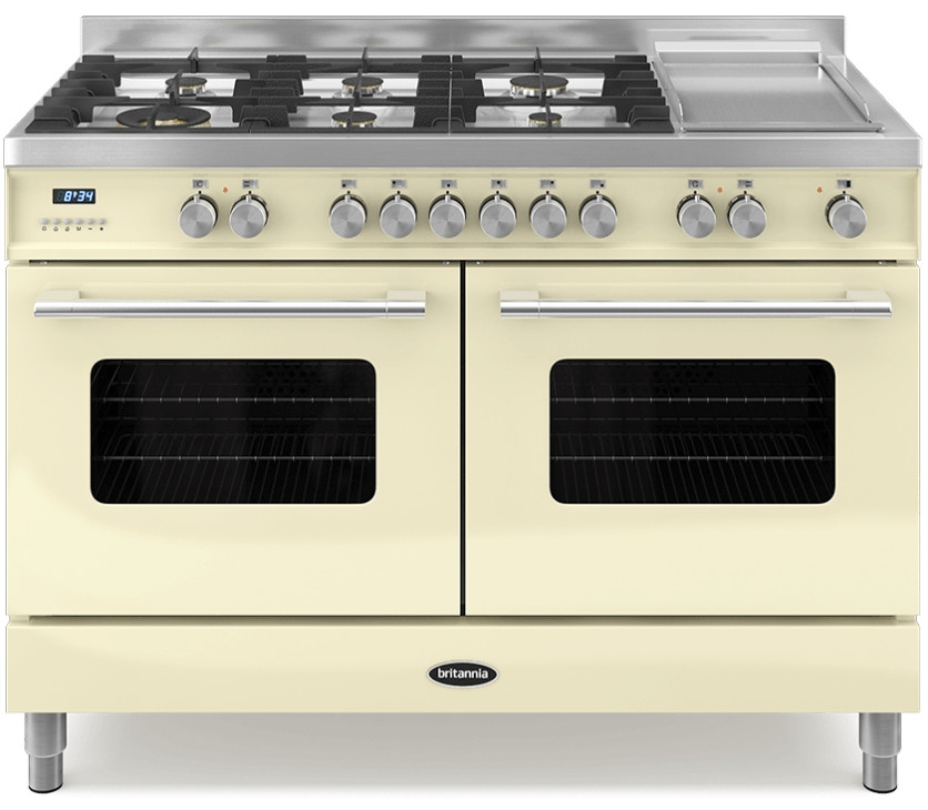 Britannia Delphi 120 - 6 Dual Fuel Burners Cream Range Cooker