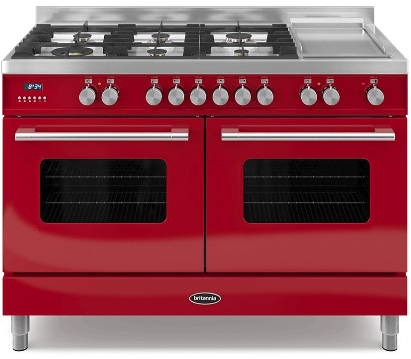 Britannia Delphi 120 - 6 Dual Fuel Burners Red Range Cooker