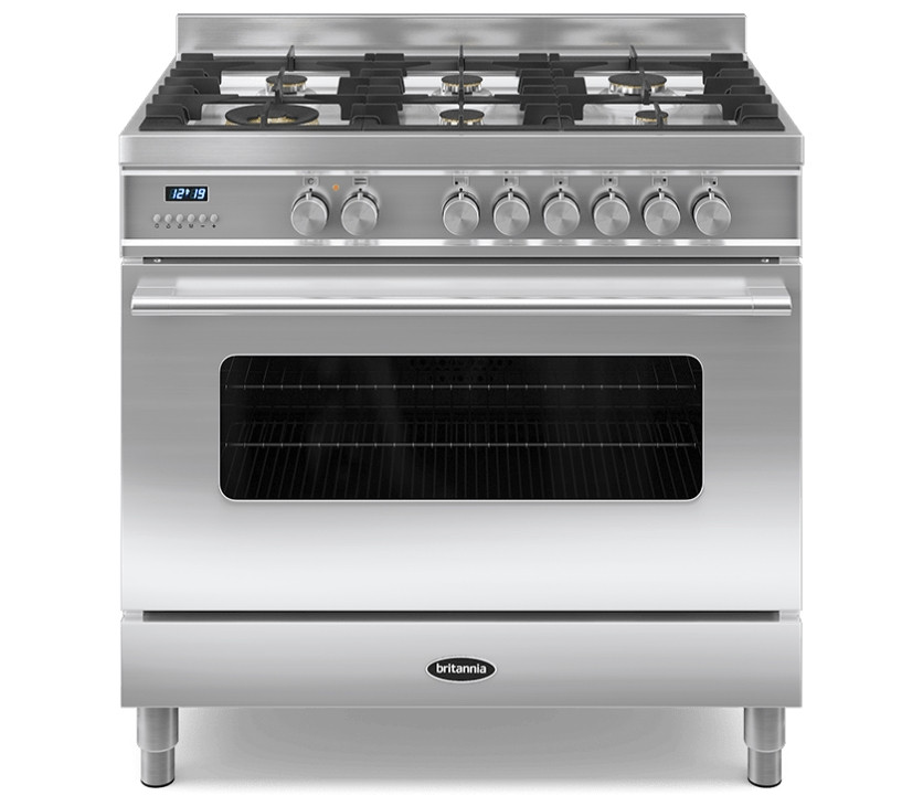 Britannia Delphi 90 Single - 6 Dual Fuel Burners Stainless Steel Range Cooker