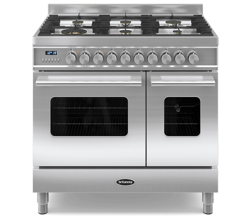 Britannia Delphi 90 Twin - 6 Dual Fuel Burners Stainless Steel Range Cooker