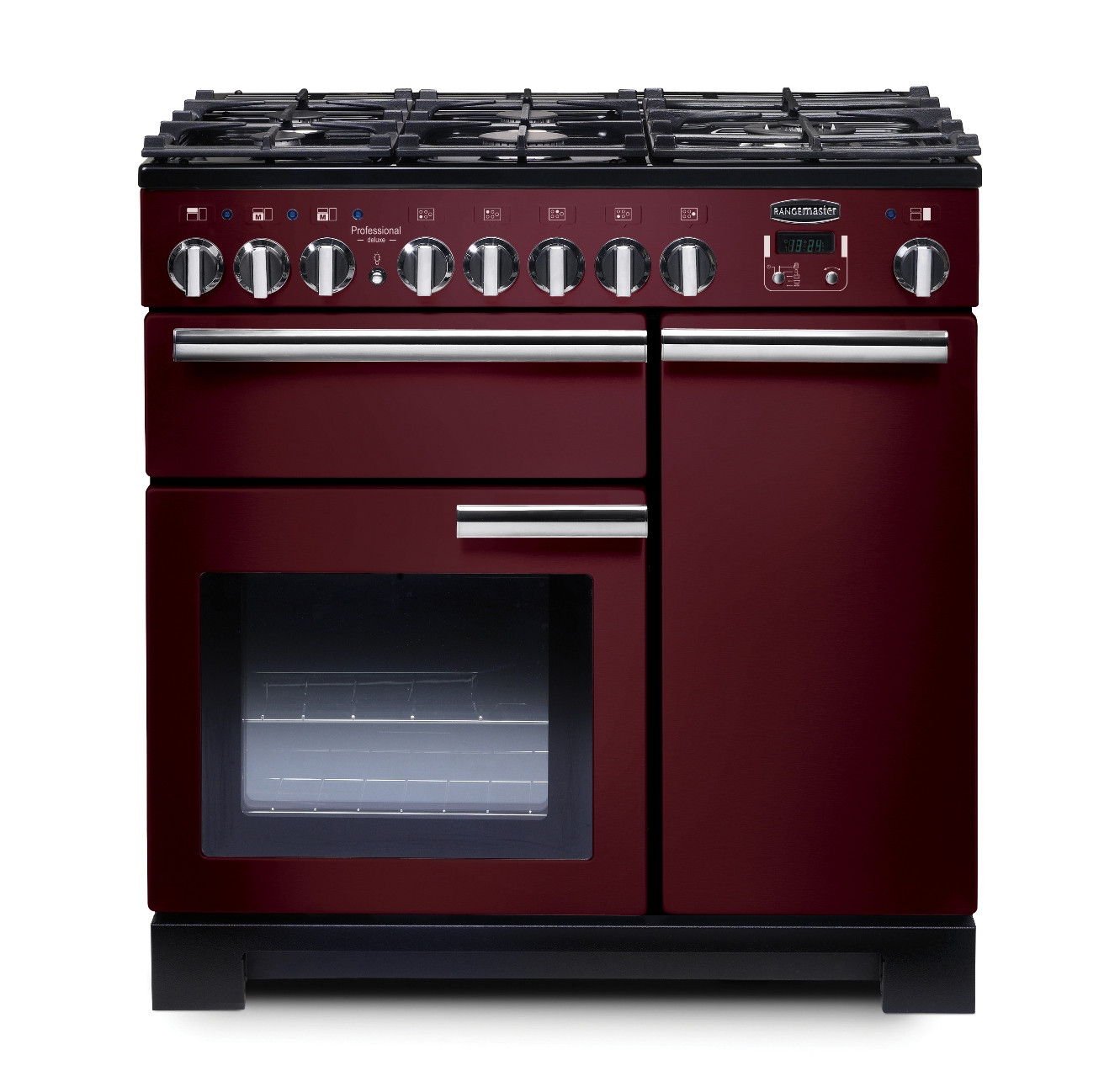 Rangemaster Professional Deluxe 90 Dual Fuel Cranberry Range Cooker PDL90DFFCY/C 97620