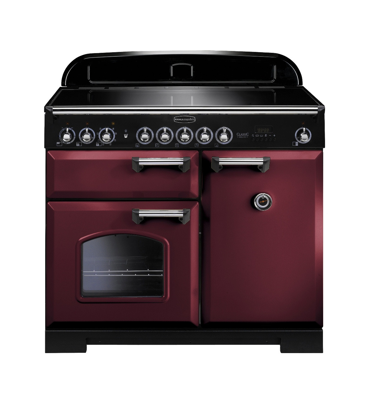 Rangemaster Classic Deluxe 100 Induction Cranberry Chrome Trim Range Cooker CDL100EICY/C 95940