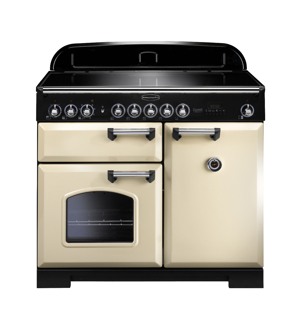 Rangemaster Classic Deluxe 100 Induction Cream/Chrome Trim Range Cooker CDL100EICR/C 95930