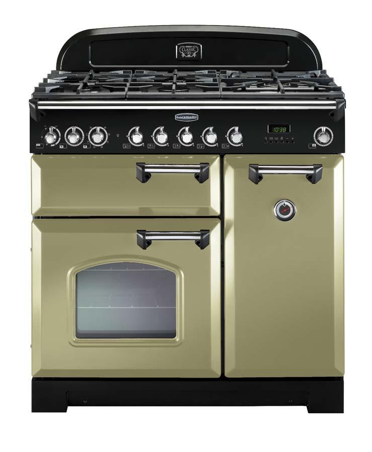 Rangemaster Classic Deluxe 90 Dual Fuel Olive Green/Chrome Trim Range Cooker CDL90DFFOG/C 100880