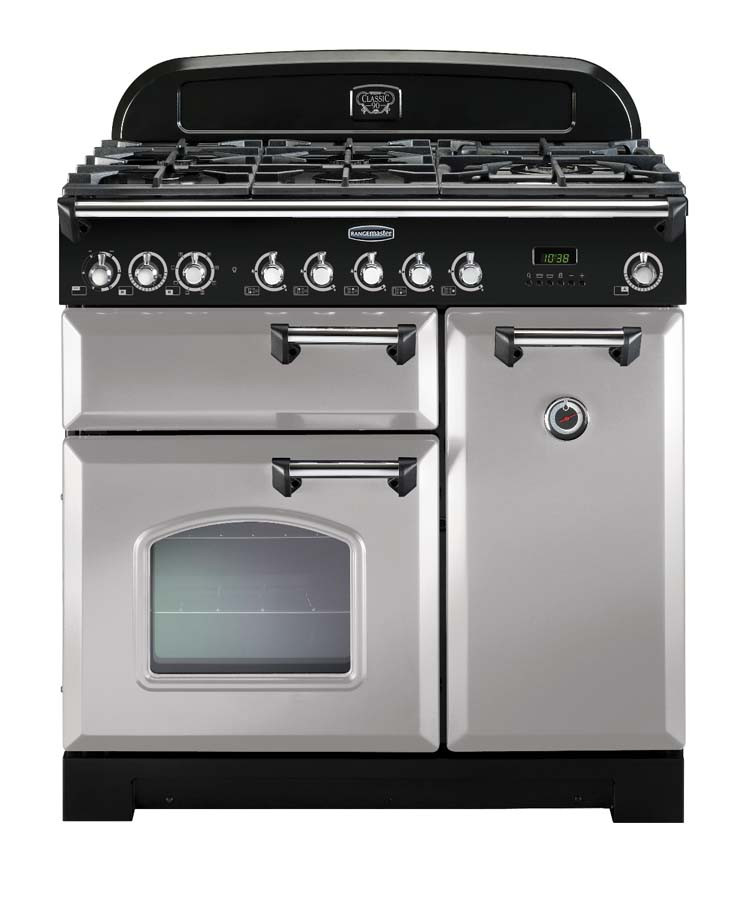 Rangemaster Classic Deluxe 90 Dual Fuel Royal Pearl/Chrome Trim Range Cooker CDL90DFFRP/C 100600