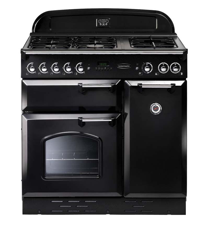 Rangemaster Classic 90 Natural Gas Black/Chrome Range Cooker 73430