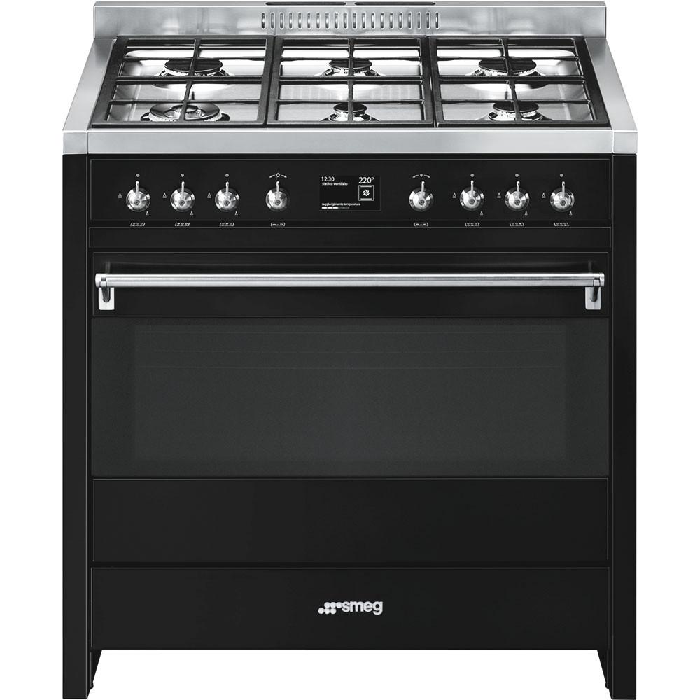Smeg Opera 90 Dual Fuel Black Range Cooker