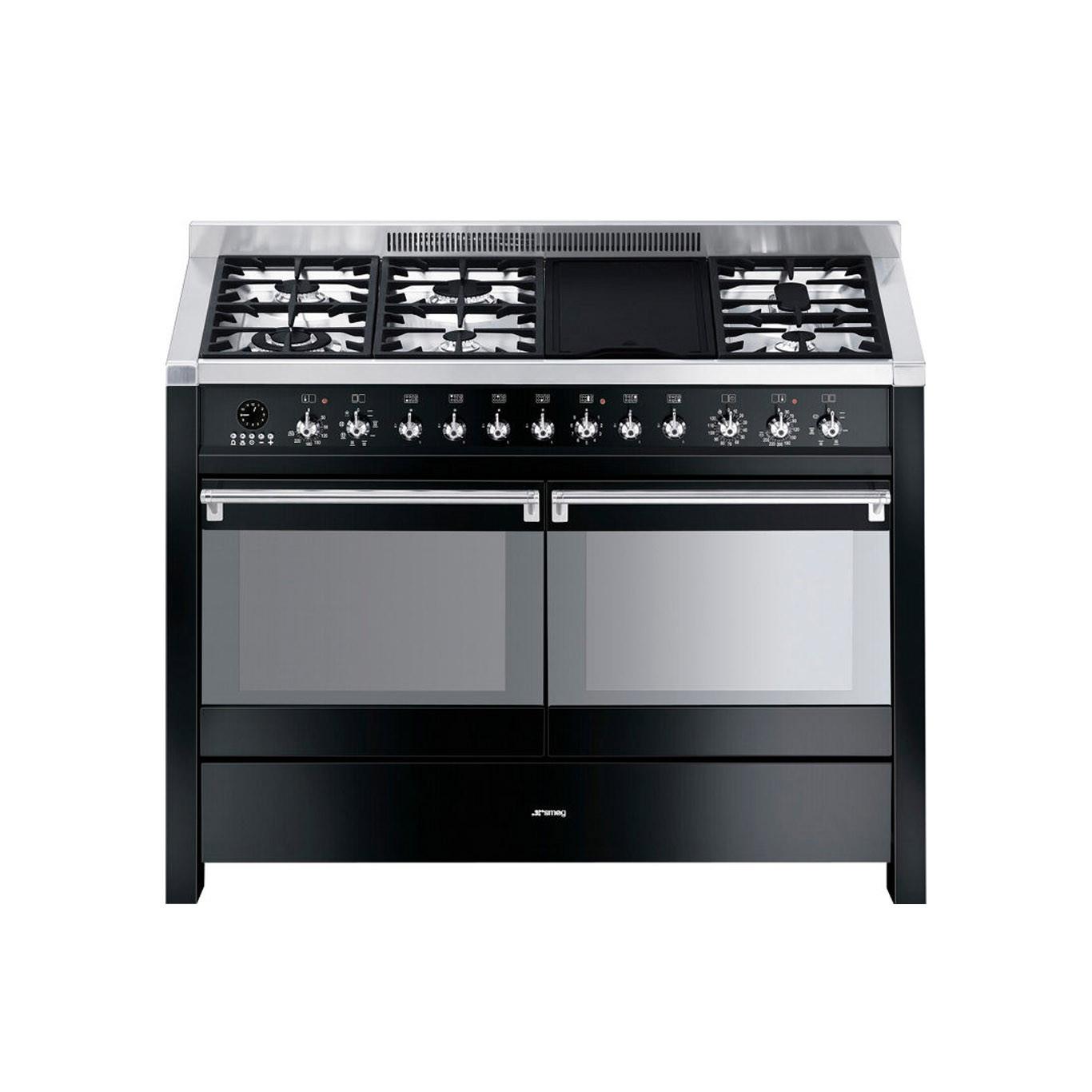 Smeg Opera 120 Dual Fuel Black Range Cooker