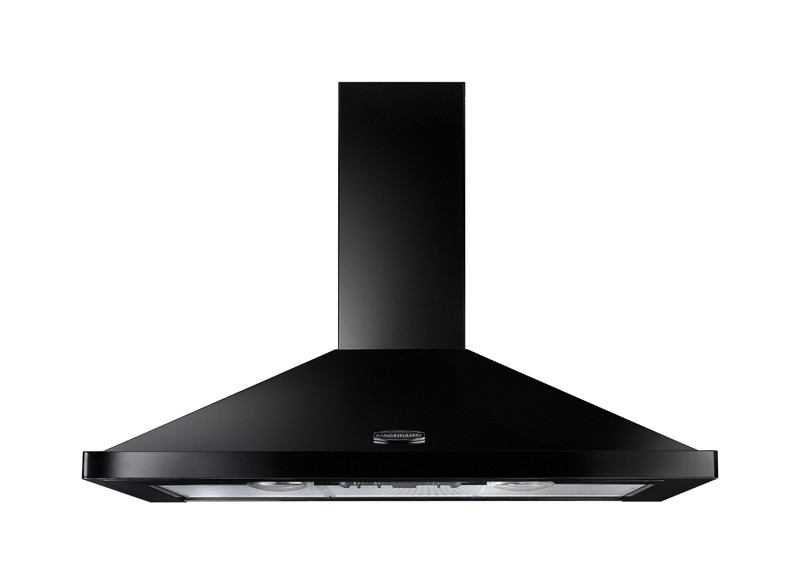 Rangemaster 90cm Chimney Cooker Hood Black with Brass Trim LEIHDC90BB/ 68020