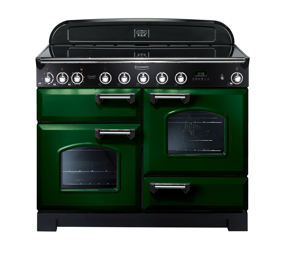 Rangemaster Classic Deluxe 110 Induction Range Cooker Racing Green/Chrome Trim CDL110EIRG/C 113070