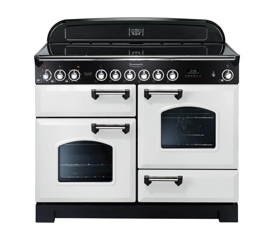 Rangemaster Classic Deluxe 110 Ceramic Range Cooker White/Chrome Trim CDL110ECWH/C 114150