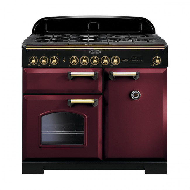 Rangemaster Classic Deluxe 100 Dual Fuel Cranberry/Brass Trim Range Cooker CDL100DFFCY/B 115560