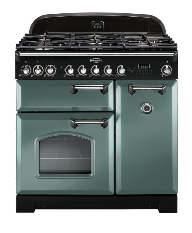 Rangemaster Classic Deluxe 100 Dual Fuel Mineral Green/Chrome Trim Range Cooker CDL100DFFMG/C 127410