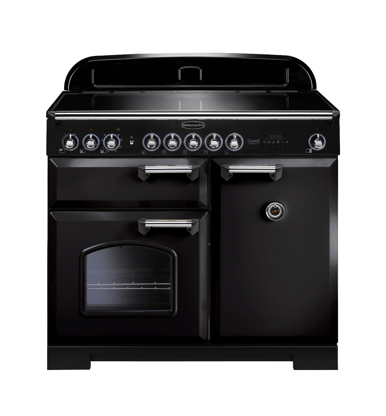 Rangemaster Classic Deluxe 100 Induction Black/Chrome Trim Range Cooker CDL100EIBL/C 95920