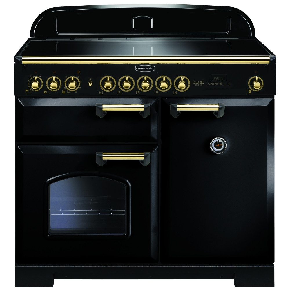 Rangemaster Classic Deluxe 100 Induction Black/Brass Trim Range Cooker CDL100EIBL/B 115570