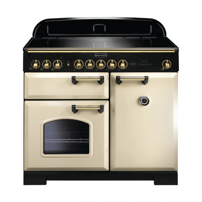 Rangemaster Classic Deluxe 100 Induction Cream/Brass Trim Range Cooker CDL100EICR/B 115580