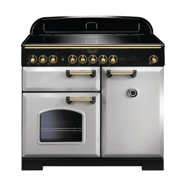 Rangemaster Classic Deluxe 100 Induction Royal Pearl/Brass Trim Range Cooker CDL100EIRP/B 114840