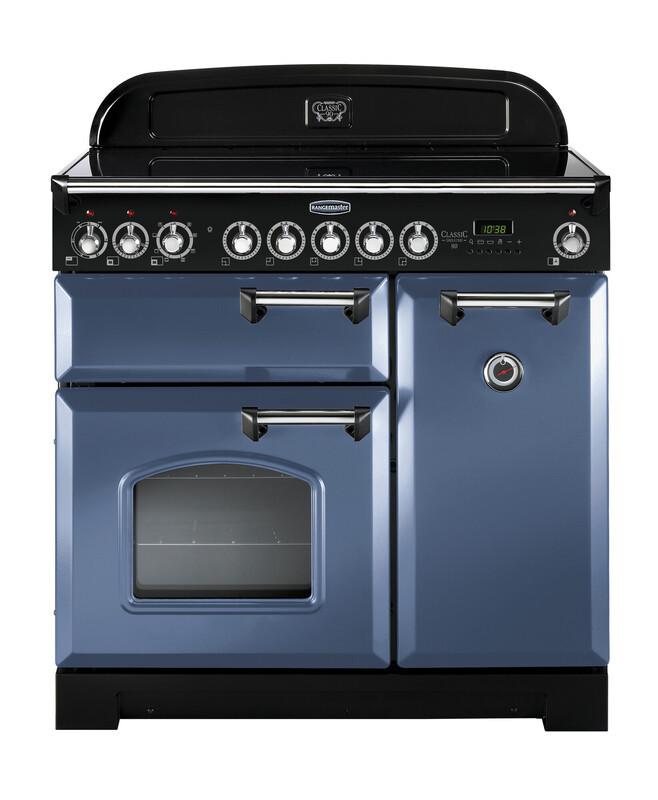 Rangemaster Classic Deluxe 100 Induction Stone Blue/Chrome Trim Range Cooker CDL100EISB/C 127460