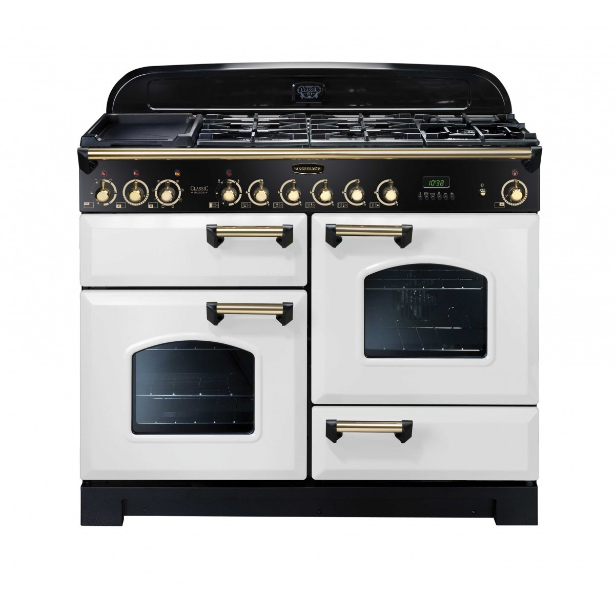 Rangemaster Classic Deluxe 110 Dual Fuel White/Brass Trim Range Cooker CDL110DFFWH/B 112940
