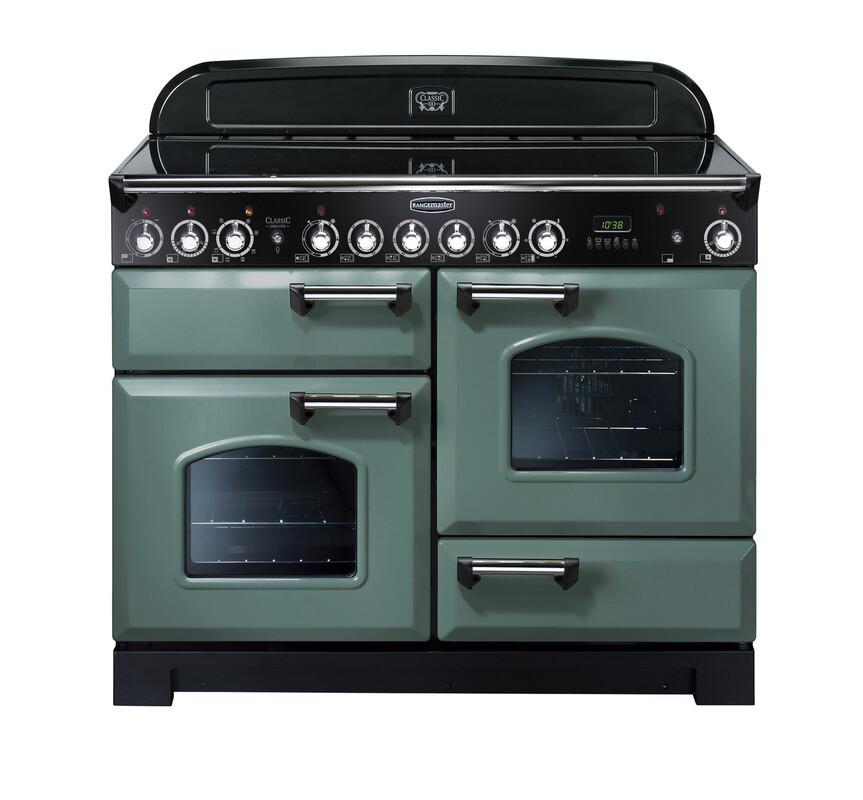 Rangemaster Classic Deluxe 110 Ceramic Range Cooker Mineral Green/Chrome Trim CDL110ECMG/C 127370