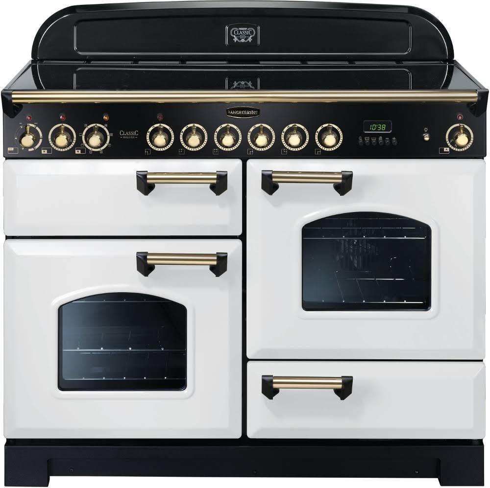 Rangemaster Classic Deluxe 110 Ceramic Range Cooker White/Brass Trim CDL110ECWH/B 114160