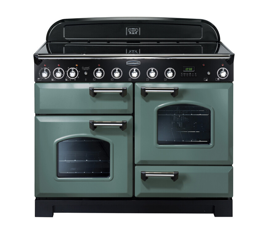 Rangemaster Classic Deluxe 110 Induction Range Cooker Mineral Green/Chrome Trim CDL110EIMG/C 127330