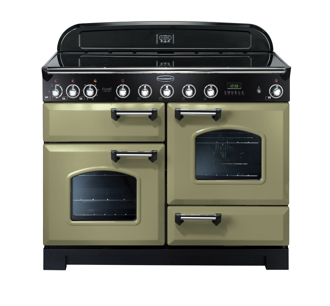Rangemaster Classic Deluxe 110 Induction Range Cooker Olive Green/Chrome Trim CDL110EIOG/C 100950