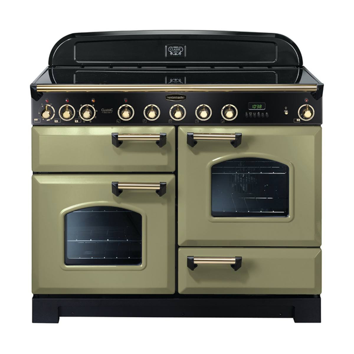 Rangemaster Classic Deluxe 110 Induction Range Cooker Olive Green/Brass Trim CDL110EIOG/B 114550