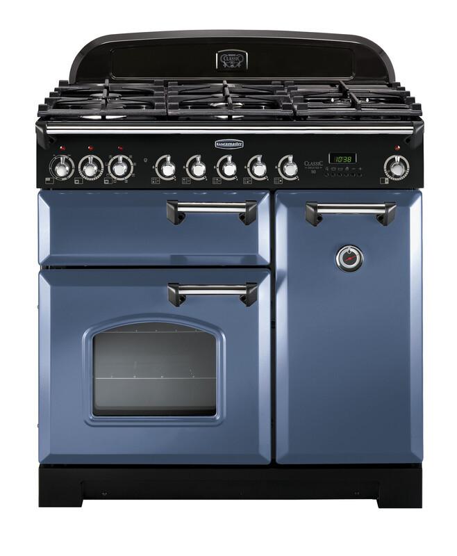 Rangemaster Classic Deluxe 90 Dual Fuel Stone Blue/Chrome Trim Range Cooker CDL90DFFSB/C 127500