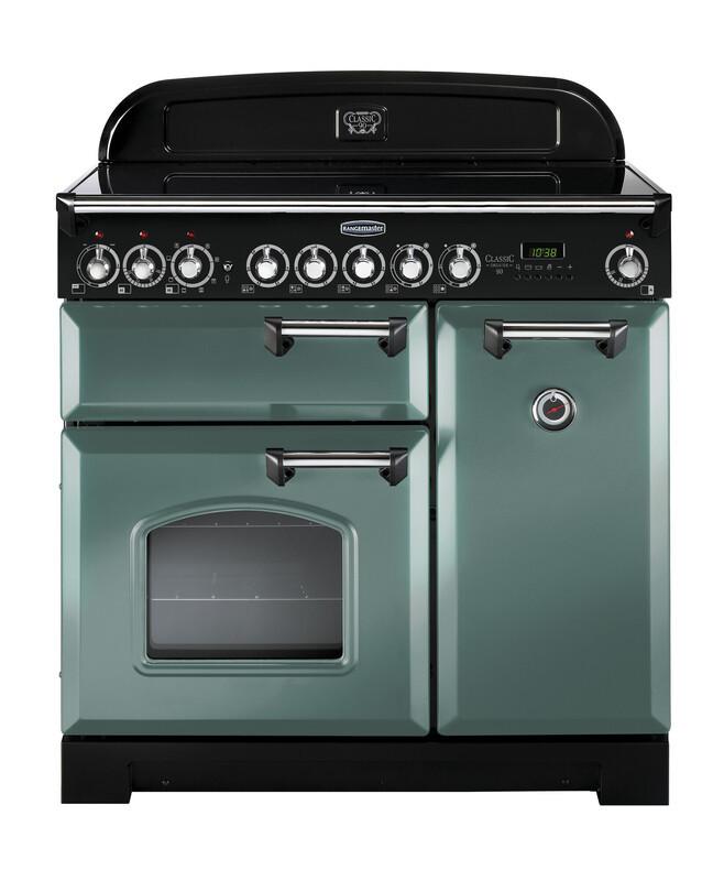 Rangemaster Classic Deluxe 90 Ceramic Mineral Green/Chrome Trim Range Cooker CDL90ECMG/C 127630