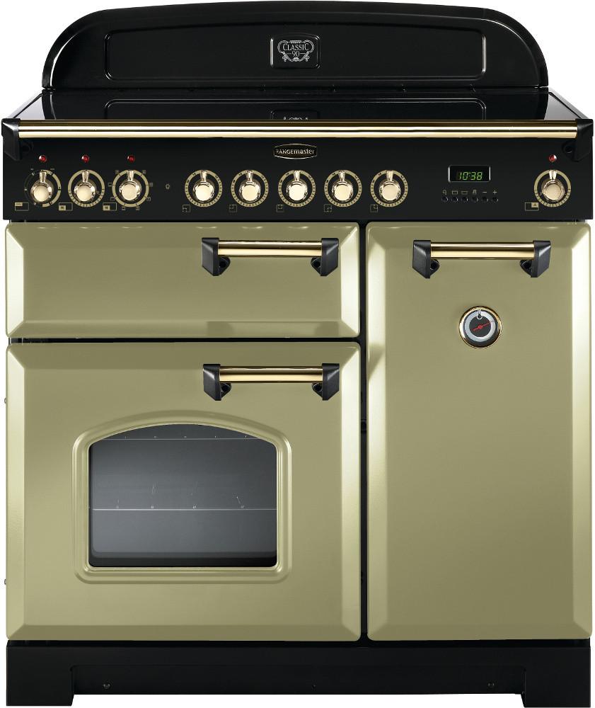 Rangemaster Classic Deluxe 90 Ceramic Olive Green/Brass Trim Range Cooker CDL90ECOG/B 114730