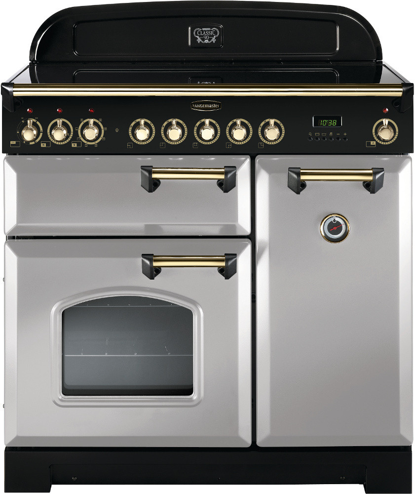Rangemaster Classic Deluxe 90 Ceramic Royal Pearl/Brass Trim Range Cooker CDL90ECRP/B 114740