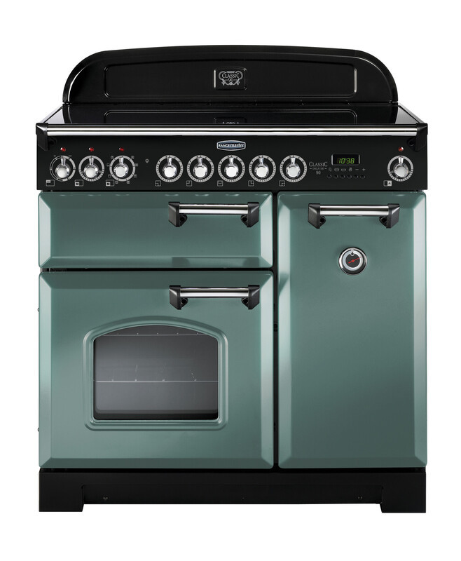 Rangemaster Classic Deluxe 90 Induction Mineral Green/Chrome Trim Range Cooker CDL90EIMG/C 127590