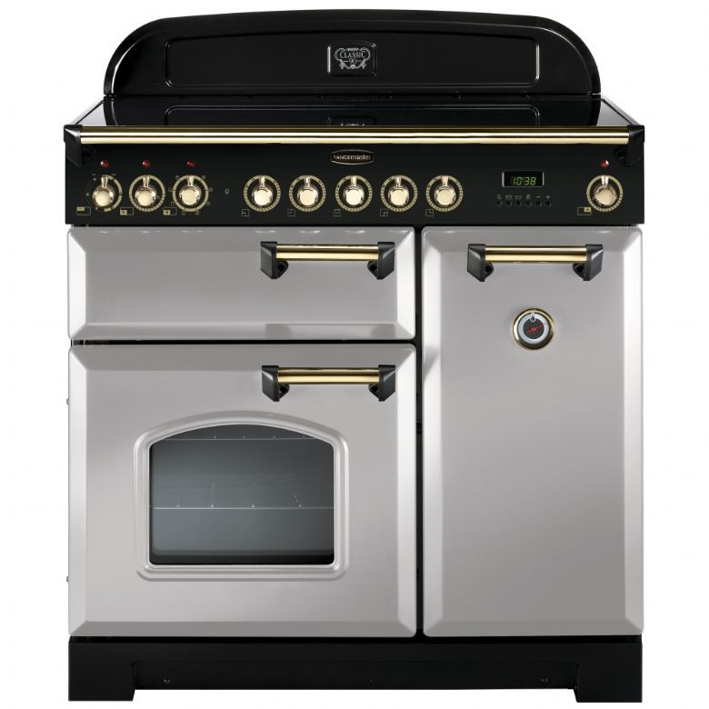 Rangemaster Classic Deluxe 90 Induction Royal Pearl/Brass Trim Range Cooker CDL90EIRP/B 114700