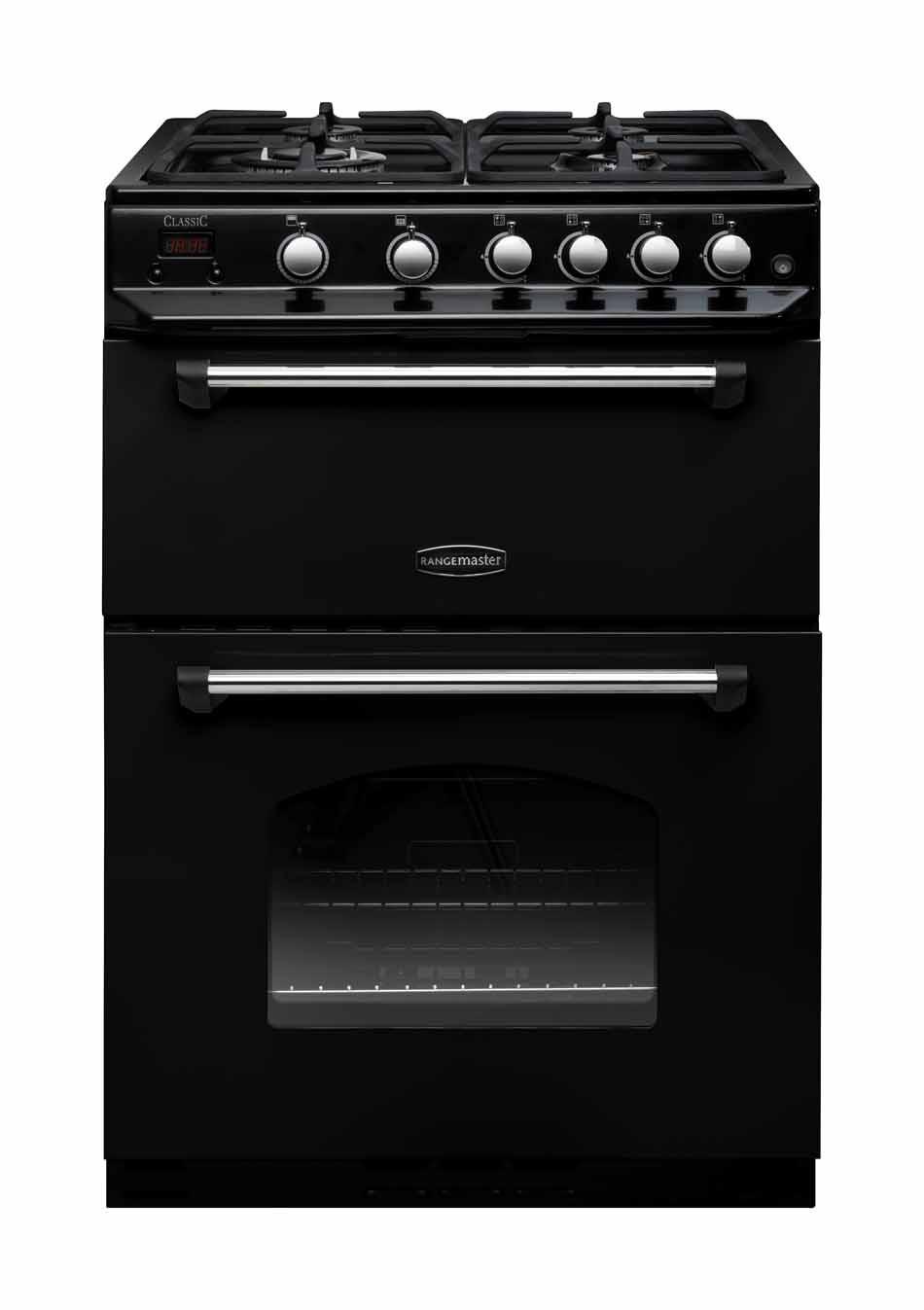 Rangemaster Classic 60 Gas Range Cooker Black/Chrome Trim