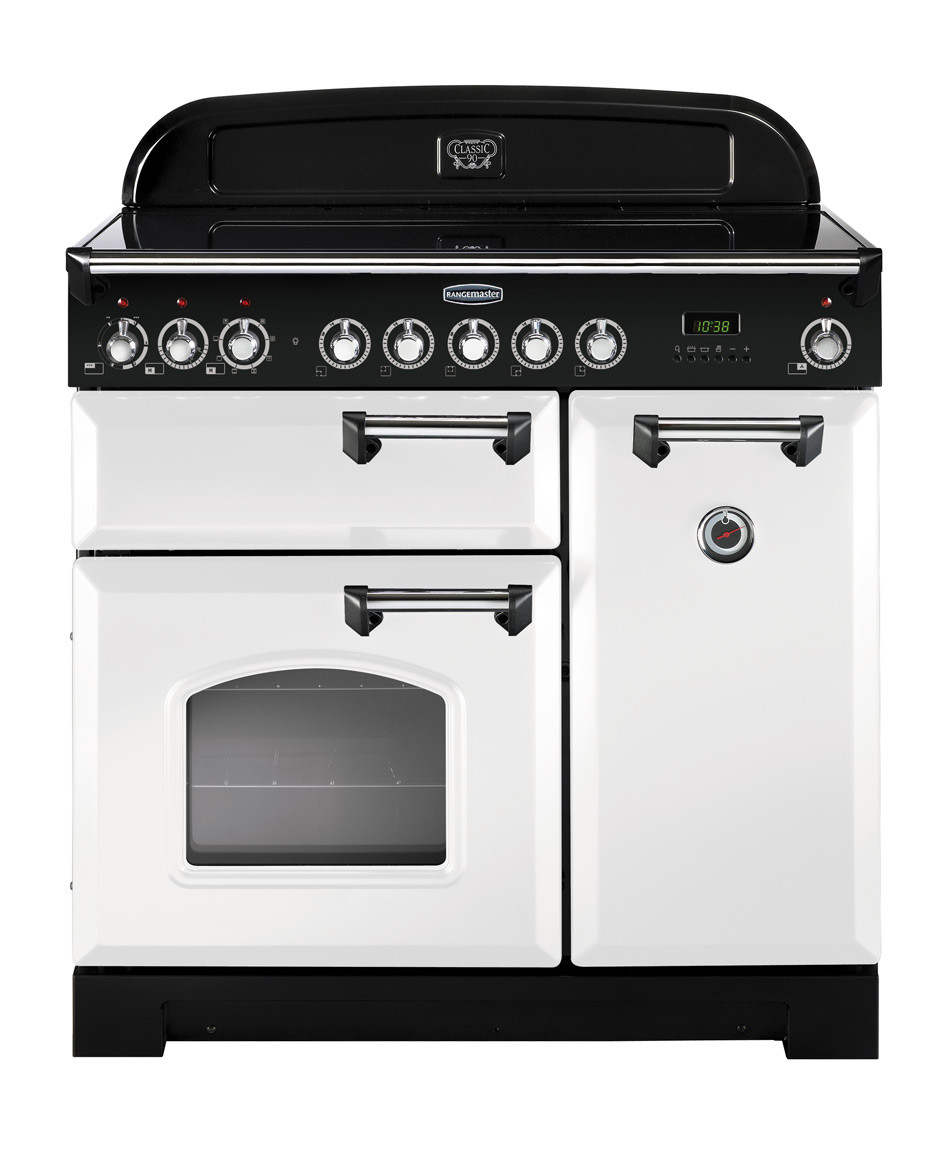 Rangemaster Classic Deluxe 90 Induction White/Chrome Trim Range Cooker CDL90EIWH/C 113730