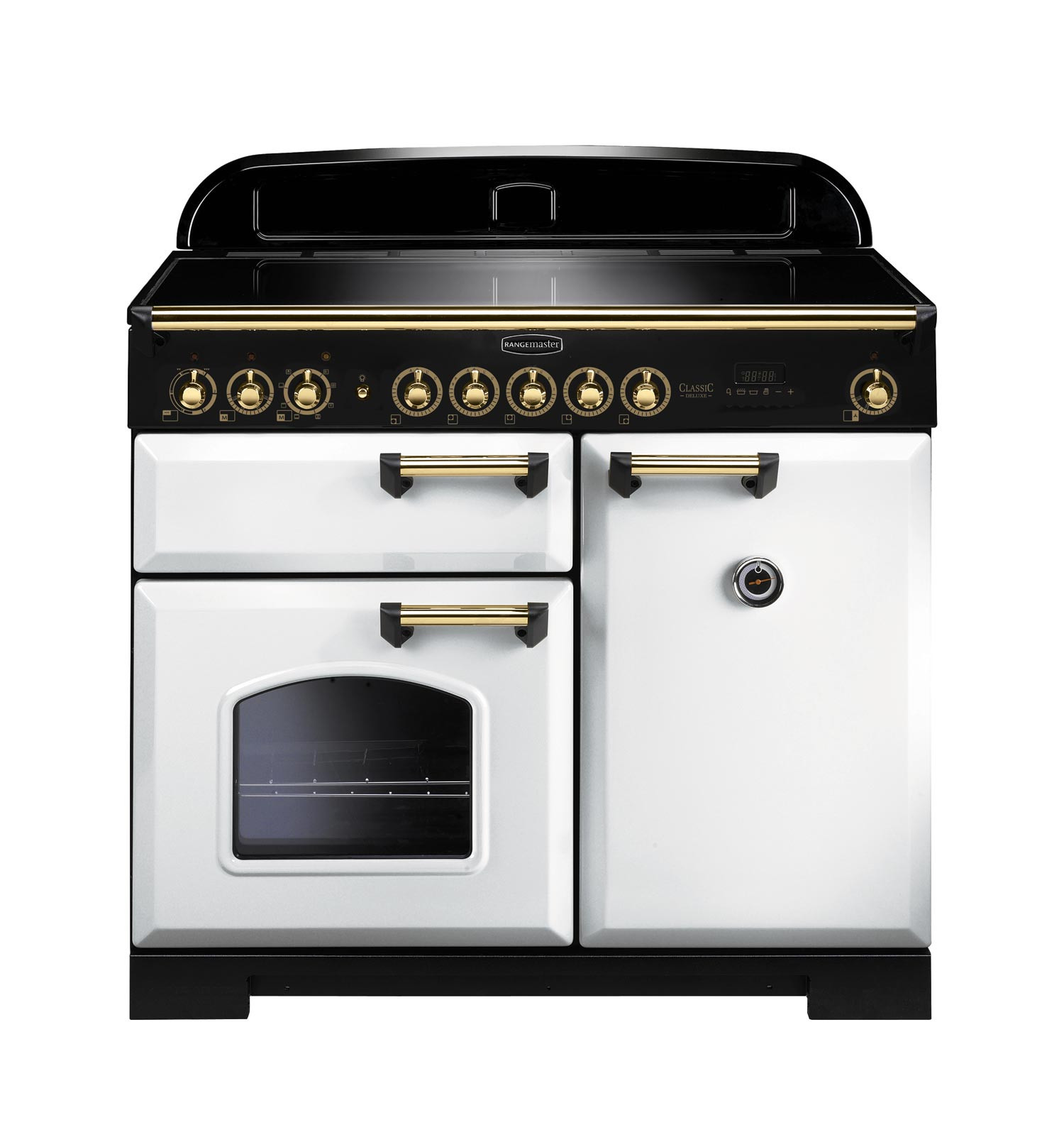 Rangemaster Classic Deluxe 100 Induction White/Brass Trim Range Cooker CDL100EIWH/B 114040