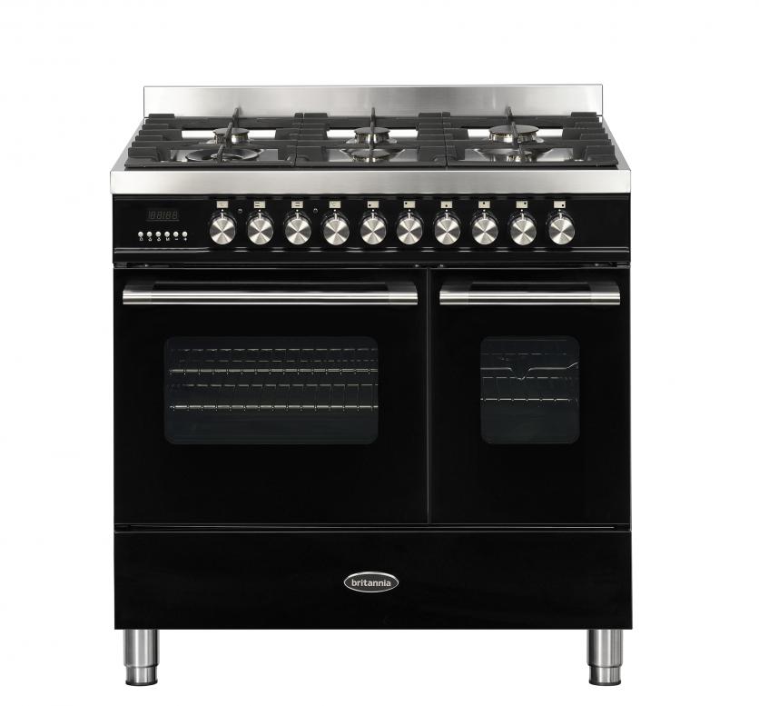 Britannia Delphi 90cm Dual Fuel Twin Oven Range Cooker Black RC-9TG-DE-K  544440246