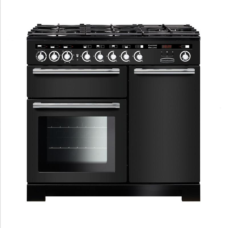 Rangemaster Encore Deluxe 100 Dual Fuel Charcoal Black Range Cooker EDL100DFFCB/C 127700